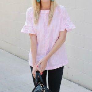 BANANA REPUBLIC pink oxford stripe blouse XS